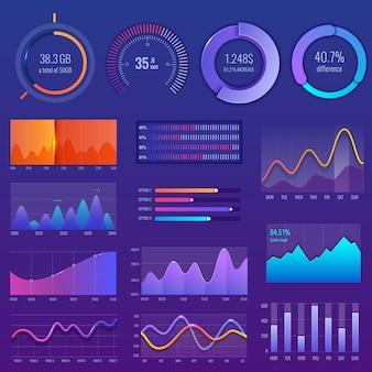 Graphique 3d et graphique. diagramme avec options et diagrammes de flux de travail.