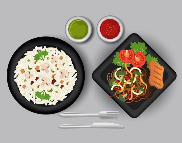 Graphique alimentaire et gastronomique.