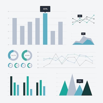 Graphique d'analyse de données et icônes graphiques