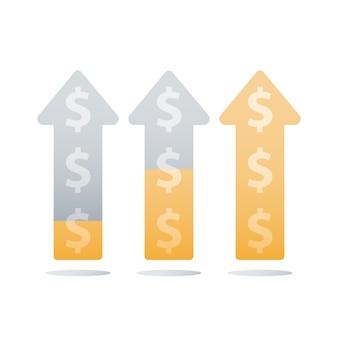 Graphique ascendant financier, augmentation des revenus, croissance des revenus, accélération des affaires