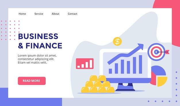 Graphique d'augmentation des finances commerciales sur ordinateur de moniteur d'affichage pour la page d'accueil de site web page d'accueil modèle de page de destination bannière avec style plat