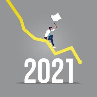 Graphique à barres en déclin et flèche noire et texte tombant, homme d'affaires a perdu des profits et assis sur le graphique vers le bas