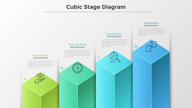 Graphique à barres ou diagramme avec 4 colonnes cubiques colorées, des lettres, des symboles de lignes fines et des zones de texte. concept de quatre étapes de développement commercial. modèle de conception infographique moderne.