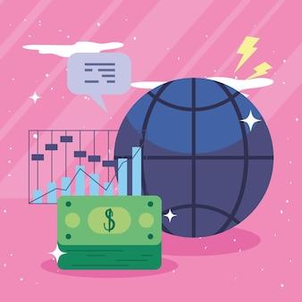 Graphique à barres de la sphère mondiale et factures