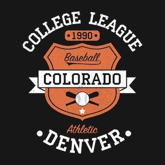 Graphique de baseball vintage colorado denver pour tshirt conception de vêtements originaux avec grunge
