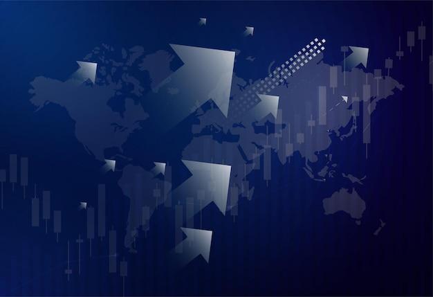 Graphique boursier financier sur la négociation d'investissements boursiers, point haussier, point baissier. tendance du graphique pour l'idée d'entreprise et la conception de toutes les œuvres d'art. illustration vectorielle.