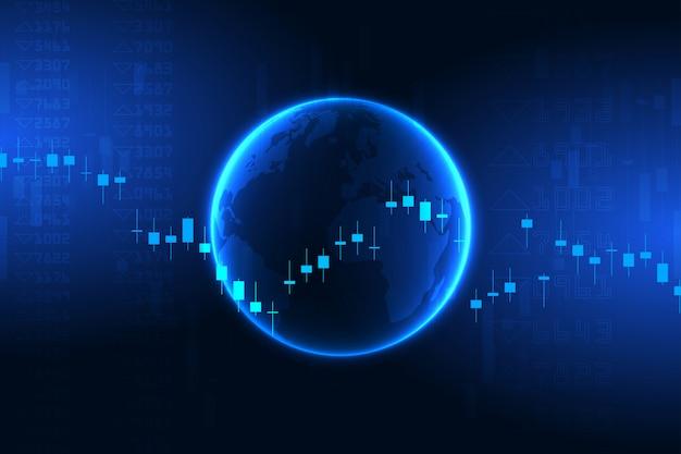 Graphique boursier ou graphique de trading forex pour les concepts commerciaux et financiers