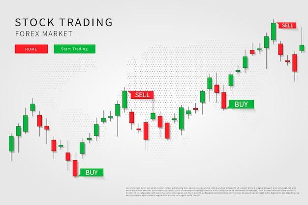 Graphique en chandelier dans l'illustration du marché financier sur fond blanc concept de design graphique de trading forex