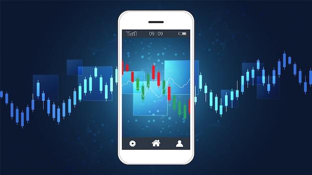 Graphique chandelier forex trading sur écran mobile