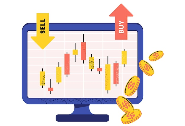 Graphique en chandelier japonais du courtier boursier marché financier