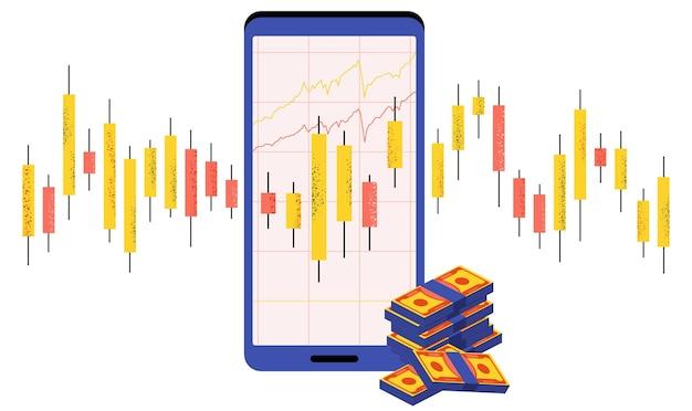 Graphique en chandeliers japonais. commerce en ligne. marché financier. commerçants et courtiers en valeurs mobilières.