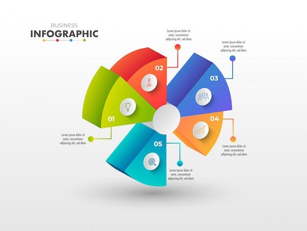 Graphique circulaire coloré en 3d