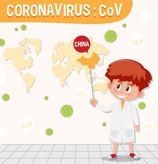 Graphique de coronavirus avec garçon et carte du monde en arrière-plan