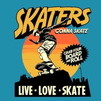 Graphique de couverture de bande dessinée de patineurs