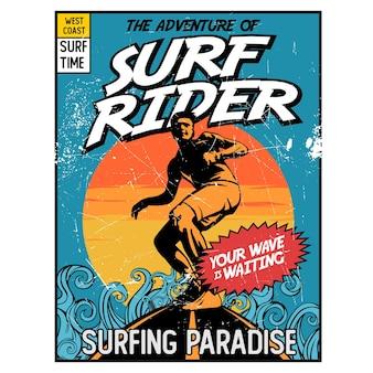 Graphique De Couverture De Surf Rider Comic Vecteur Premium