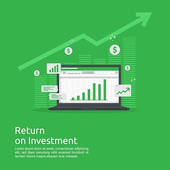 Le graphique de croissance de l'entreprise et le graphique des flèches augmentent jusqu'à la réussite. retour sur investissement ou retour sur investissement.