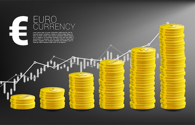 Graphique de croissance avec pile de pièce de monnaie euro et fond de graphique de bonnes affaires.