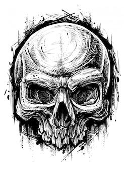 Graphique détaillé de crâne humain trash polka line art