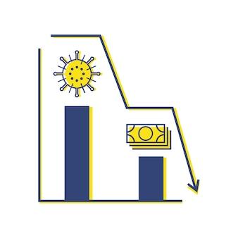 Graphique d'économie covid-19 destroy