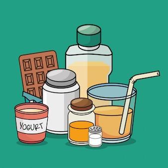 Graphique d'éléments de dessin animé de petit déjeuner