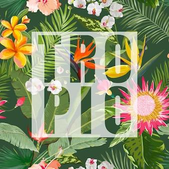 Graphique d'été floral tropical. pour les fonds d'écran, les arrière-plans, les textures, les textiles, les cartes.