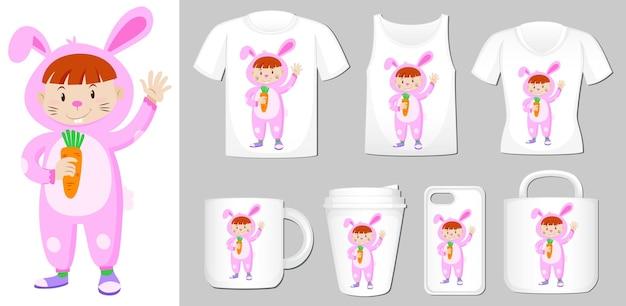 Graphique de fille en costume de lapin sur différents types de modèle de produit