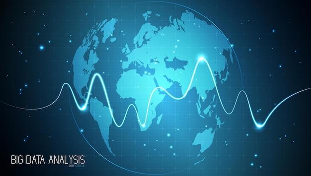 Graphique de graphique de bâton de bougie d'affaires analyse de big data visualisation d'informations de données graphique point haussier