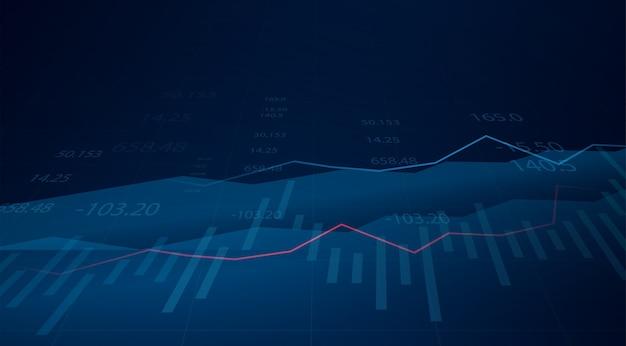 Graphique graphique de bâton de bougie d'affaires du trading d'investissement boursier sur fond bleu. point haussier, tendance du graphique.