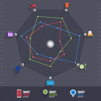 Graphique graphique de diagramme de flèche infographique sur le fond noir pastel vert avec et grandissime. peut être un élément d'utilisation pour la mise en page, l'impression de site web, le rapport annuel