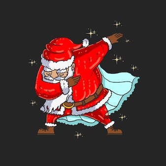Graphique d'illustration de danse mignon santa tamponnant