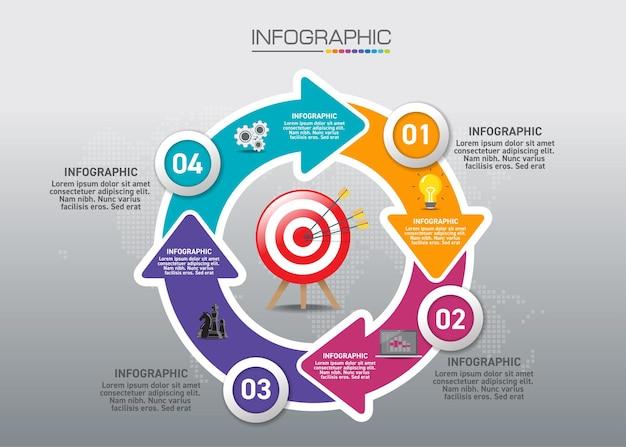Graphique infographique avec concept d'achat, 5 options peuvent être utilisées pour le concept d'entreprise en 5 étapes.