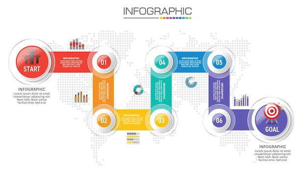 Graphique infographique avec concept d'entreprise, 6 options peuvent être utilisées pour le concept d'entreprise avec 6 étapes.