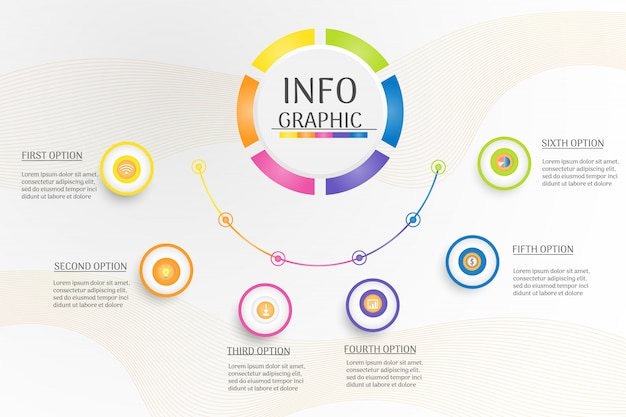 Graphique infographique de modèle de cercle de conception entreprise.
