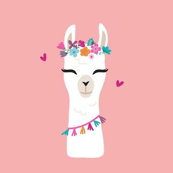 Graphique de lama mignon avec une couronne de fleurs
