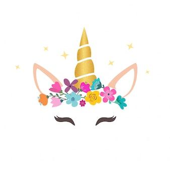 Graphique licorne mignon avec une couronne de fleurs