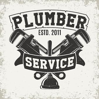 Graphique de logo vintage, timbre d'impression, emblème de typographie de plombier
