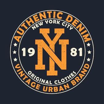 Graphique de la marque urbaine vintage en denim authentique de new york pour tshirt
