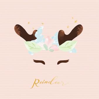 Graphique mignon de renne avec une couronne de fleurs.