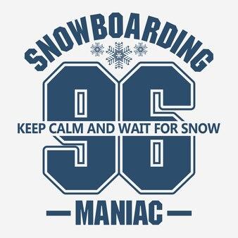Graphique de mode de t-shirt de snowboard, emblème de sport d'hiver,