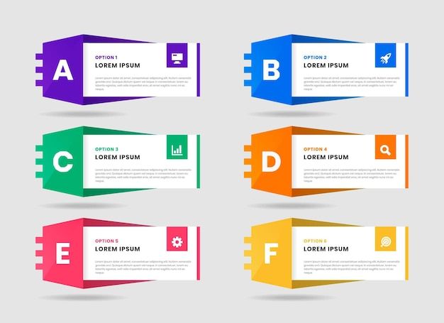 Graphique des modèles de conception d'éléments infographiques avec des icônes et des alphabets