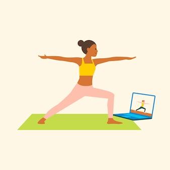 Graphique plat de caractère de vecteur de cours de yoga en ligne
