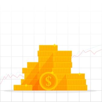 Graphique de plus en plus avec pièce d'un dollar d'or. concept de finance et d'économie d'entreprise. illustration de vecteur de dessin animé isolée sur fond blanc.
