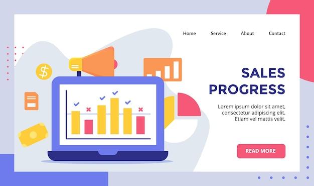 Graphique de progression des ventes sur la campagne de concept d'affichage de moniteur pour le modèle de page de destination de page d'accueil de site web
