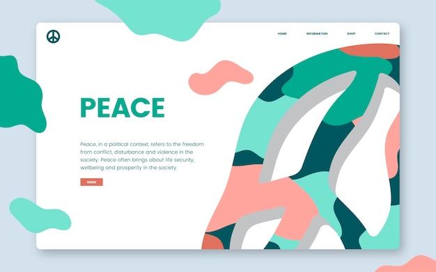 Graphique de site web d'information sur la paix et la liberté