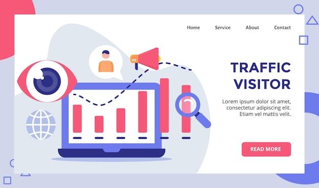 Graphique statistique des visiteurs du trafic pour la page d'accueil du site web