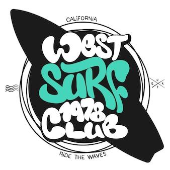 Graphique de surf. impression de t-shirts. caractères