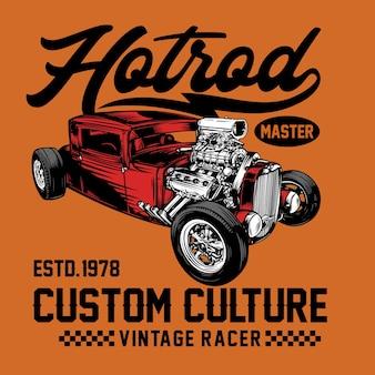 Graphique de t-shirt de voiture hotrod