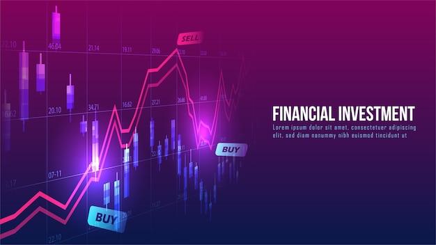 Graphique de trading boursier ou forex dans le concept graphique adapté à l'investissement financier ou à l'idée d'entreprise de tendances économiques et à la conception de toutes les œuvres d'art. abstrait arrière-plan de la finance.