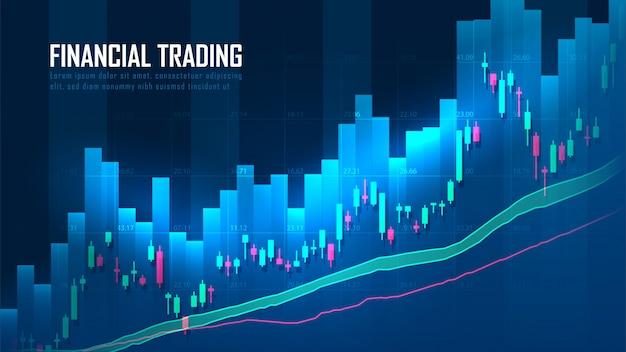Graphique de trading boursier ou forex dans le concept graphique