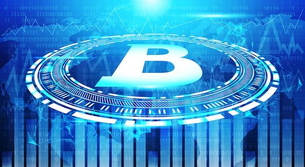 Graphiques bitcoin sur la carte du monde bleu fond crypto monnaie commerce concept données infographie bannière